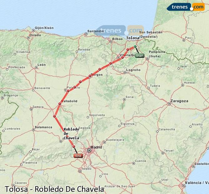 Enlarge map Trains Tolosa to Robledo De Chavela