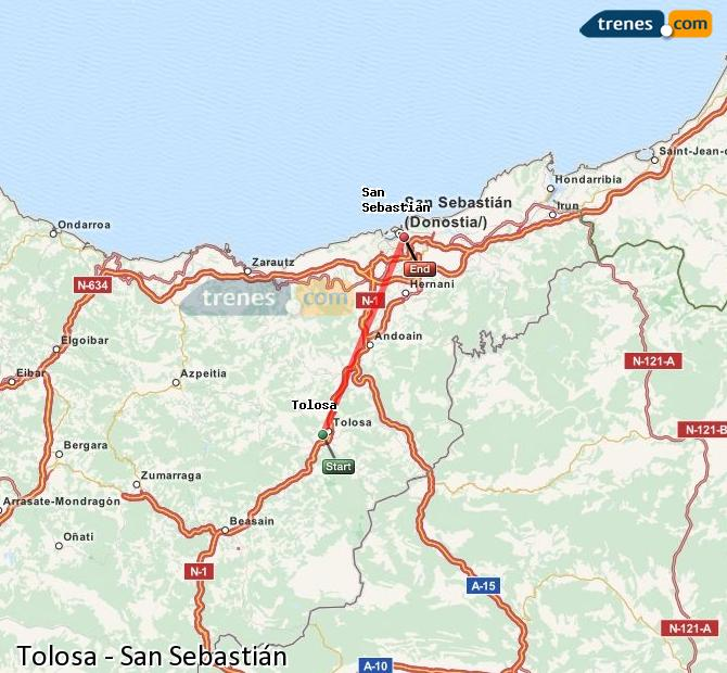Ingrandisci la mappa Treni Tolosa San Sebastián