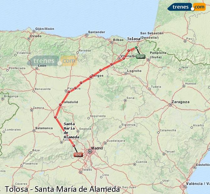 Enlarge map Trains Tolosa to Santa Maria de Alameda
