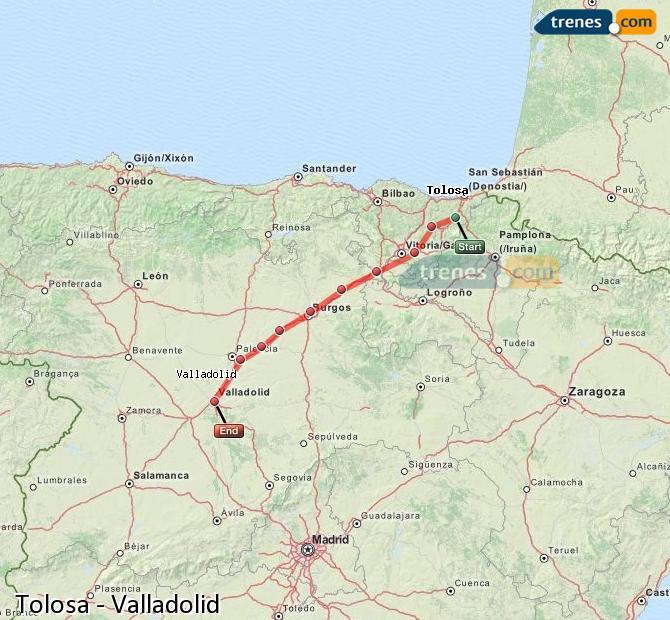 Karte vergrößern Züge Tolosa Valladolid