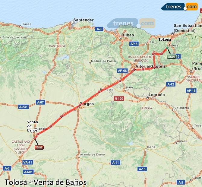 Ingrandisci la mappa Treni Tolosa Venta de Baños