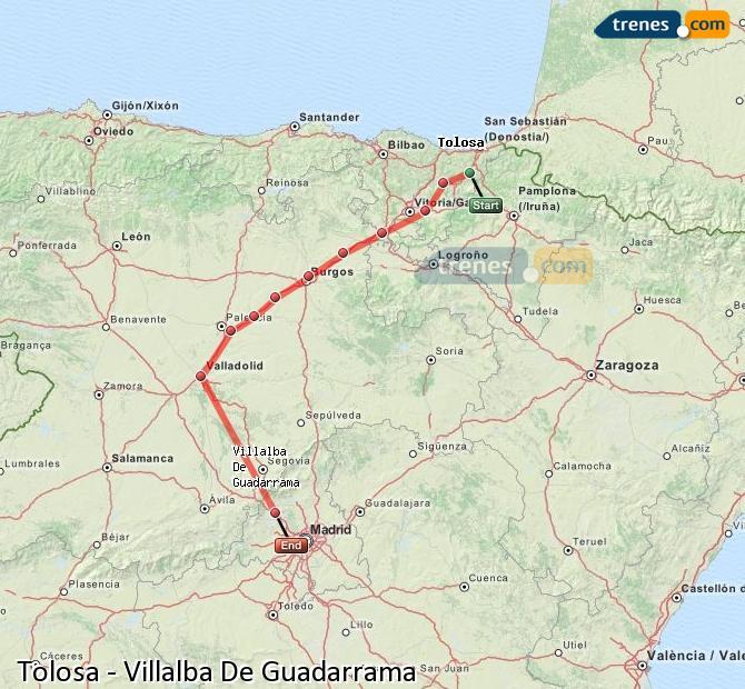Agrandir la carte Trains Tolosa Villalba De Guadarrama