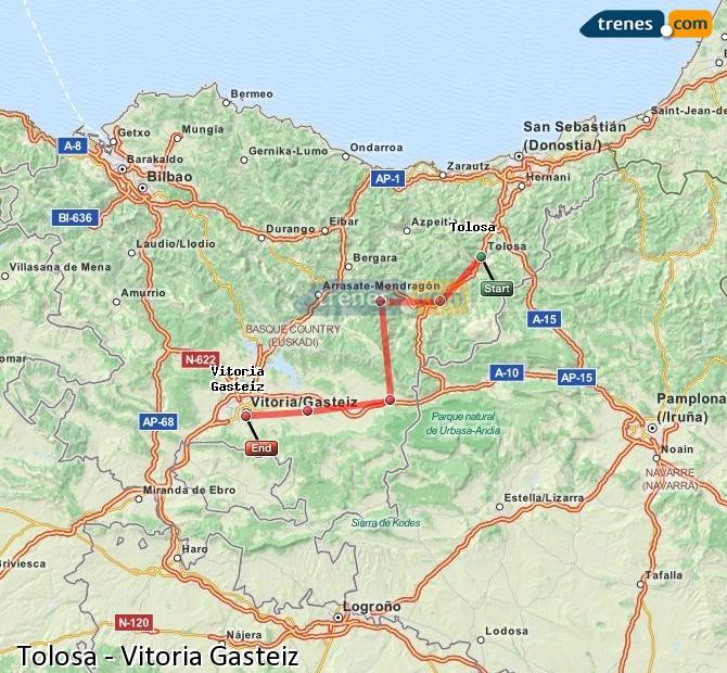 Ampliar mapa Trenes Tolosa Vitoria Gasteiz