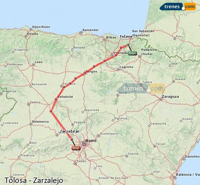 Karte vergrößern Züge Tolosa Zarzalejo