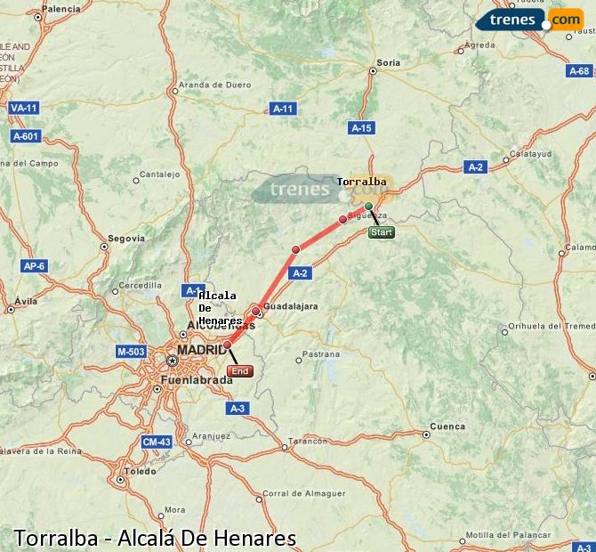 Enlarge map Trains Torralba to Alcalá De Henares