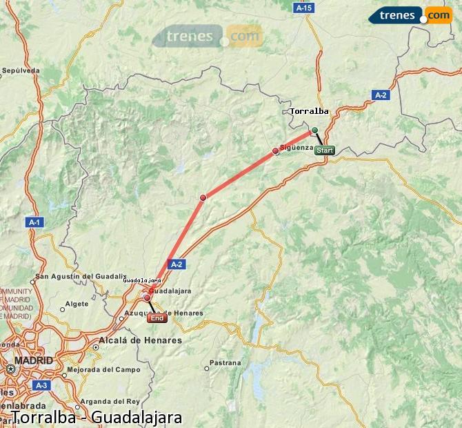 Agrandir la carte Trains Torralba Guadalajara