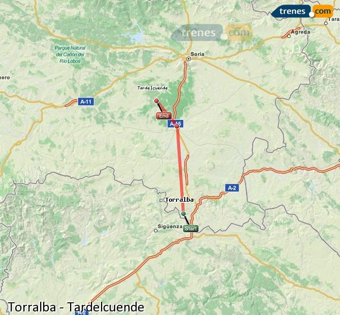 Enlarge map Trains Torralba to Tardelcuende