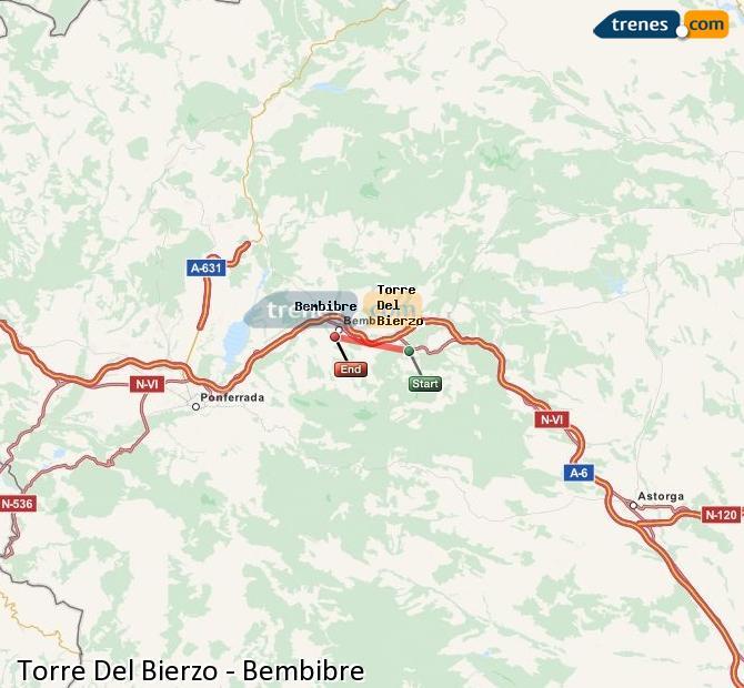 Karte vergrößern Züge Torre Del Bierzo Bembibre