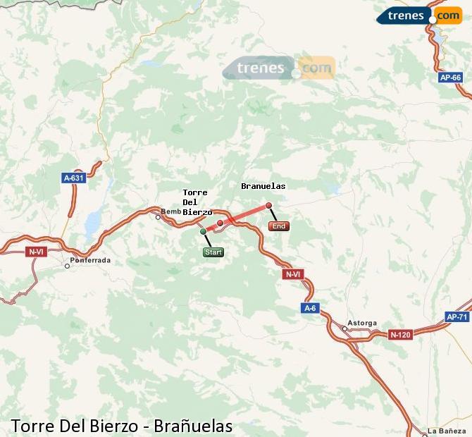 Ingrandisci la mappa Treni Torre Del Bierzo Brañuelas