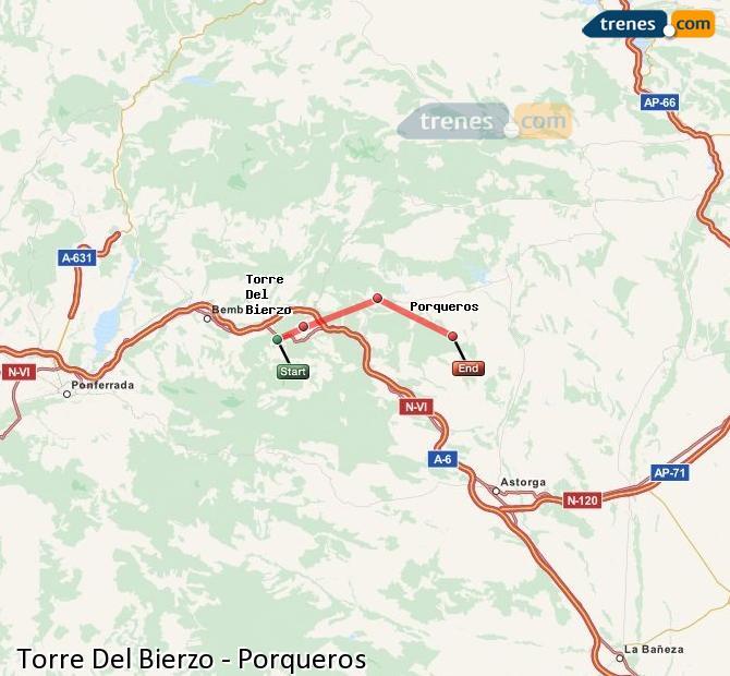 Enlarge map Trains Torre Del Bierzo to Porqueros