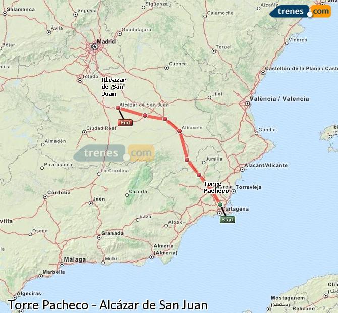 Ingrandisci la mappa Treni Torre Pacheco Alcázar de San Juan