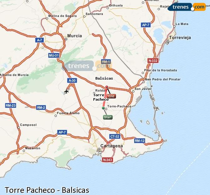Enlarge map Trains Torre Pacheco to Balsicas