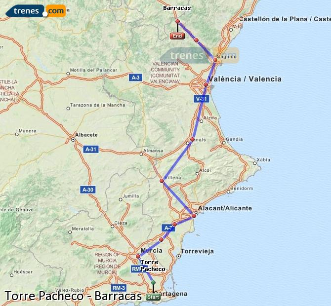 Enlarge map Trains Torre Pacheco to Barracks