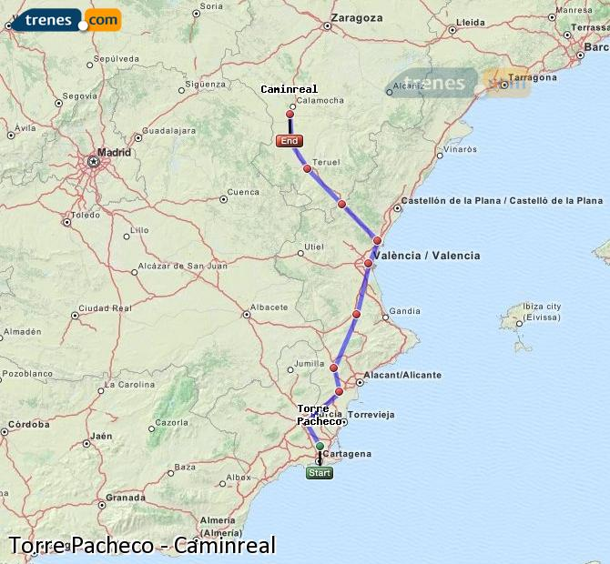 Enlarge map Trains Torre Pacheco to Caminreal