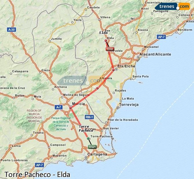 Agrandir la carte Trains Torre Pacheco Elda