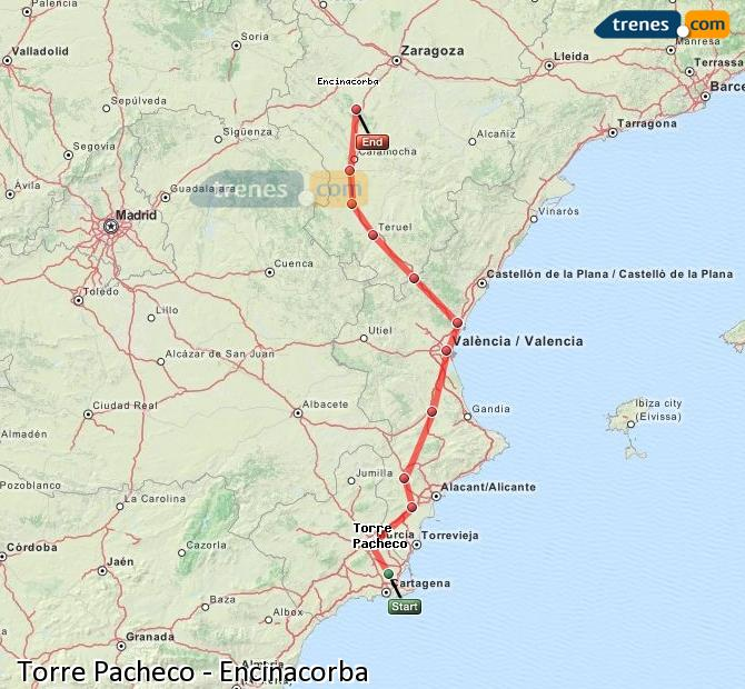 Enlarge map Trains Torre Pacheco to Encinacorba