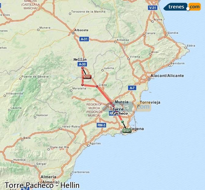 Karte vergrößern Züge Torre Pacheco Hellín