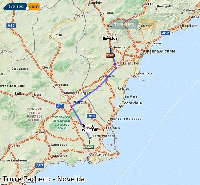 Karte vergrößern Züge Torre Pacheco Novelda