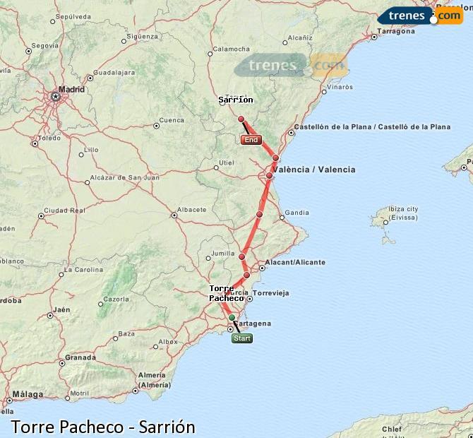 Ampliar mapa Comboios Torre Pacheco Sarrión