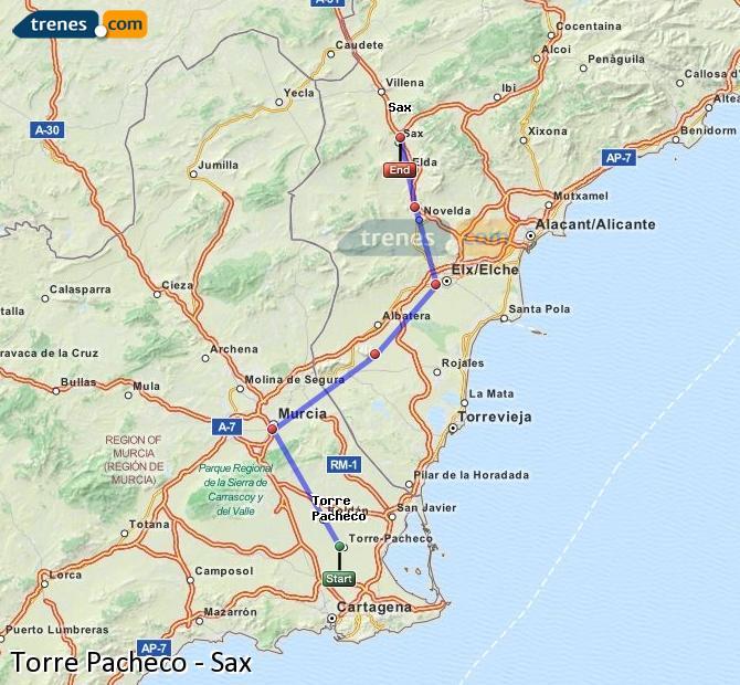 Ampliar mapa Comboios Torre Pacheco Sax