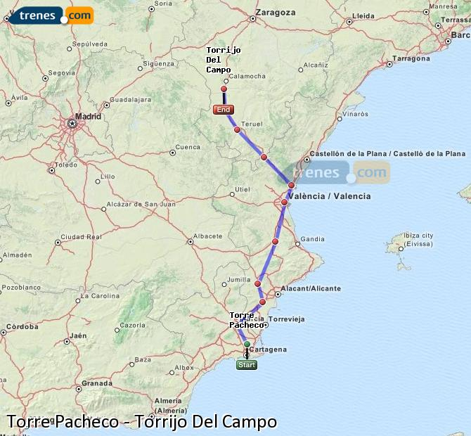 Enlarge map Trains Torre Pacheco to Torrijo Del Campo