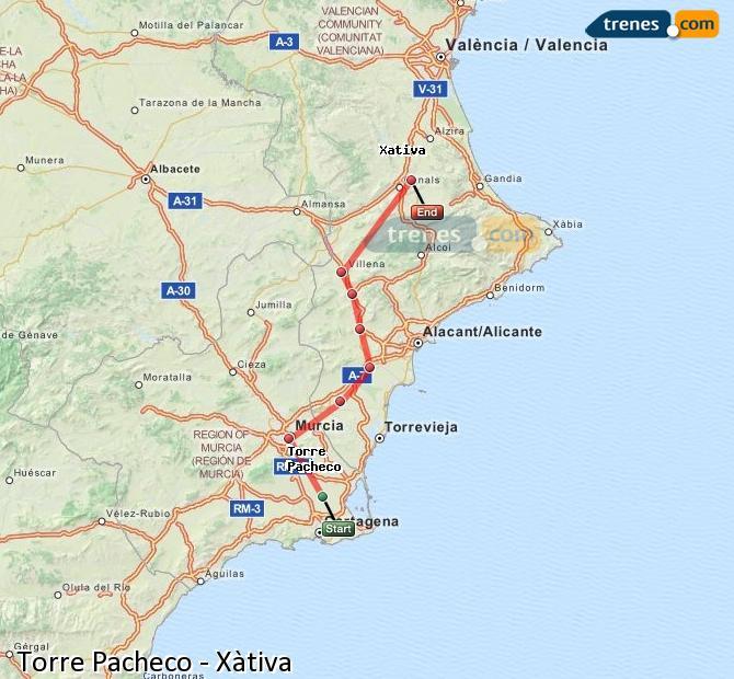 Ingrandisci la mappa Treni Torre Pacheco Xàtiva