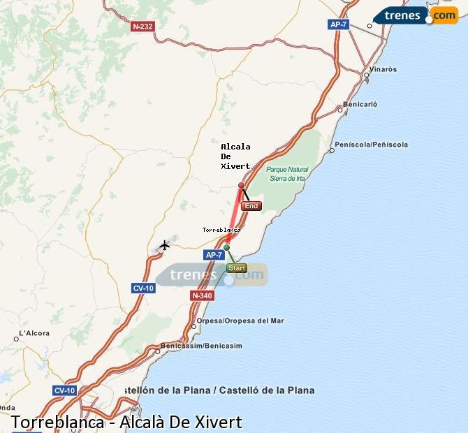 Enlarge map Trains Torreblanca to Alcalà De Xivert