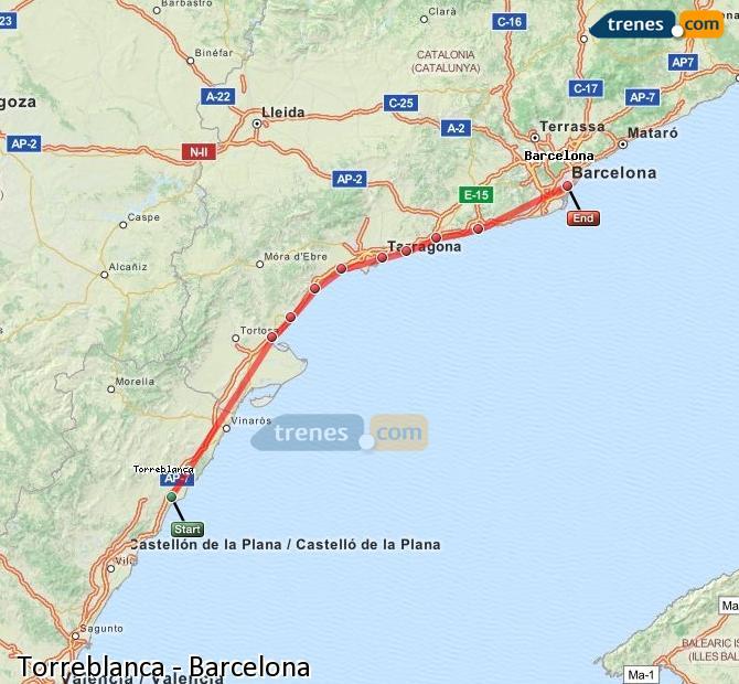 Agrandir la carte Trains Torreblanca Barcelone