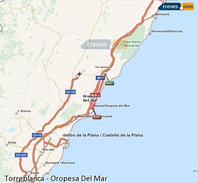 Ingrandisci la mappa Treni Torreblanca Oropesa Del Mar