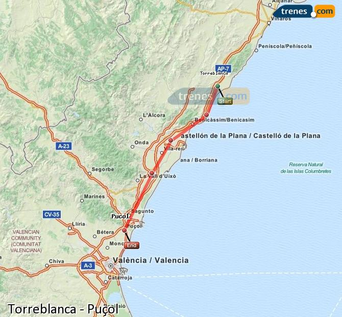 Enlarge map Trains Torreblanca to Puçol