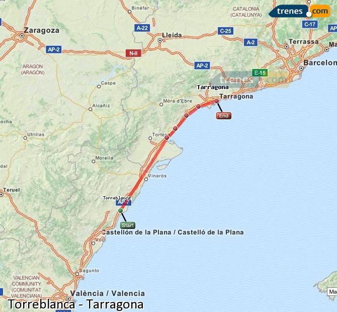 Ingrandisci la mappa Treni Torreblanca Tarragona