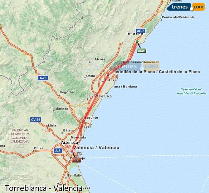 Enlarge map Trains Torreblanca to Valencia