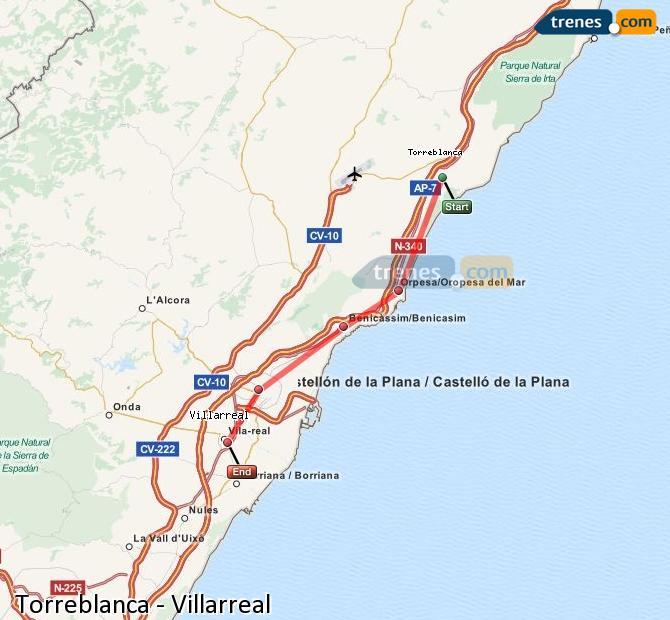 Agrandir la carte Trains Torreblanca Villarreal