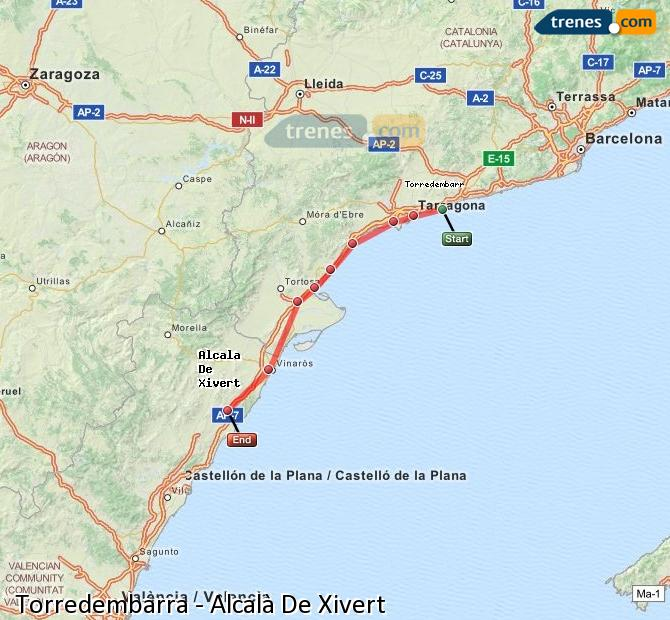 Enlarge map Trains Torredembarra to Alcalà De Xivert