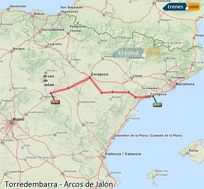 Ingrandisci la mappa Treni Torredembarra Arcos de Jalón