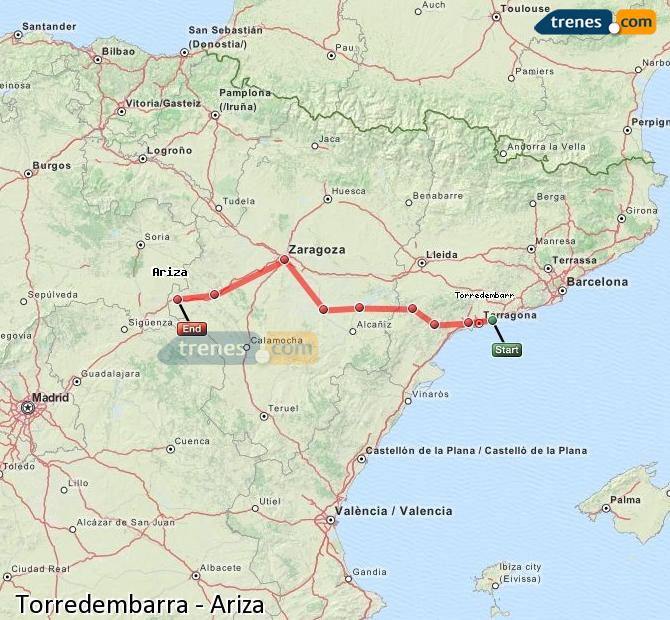 Enlarge map Trains Torredembarra to Ariza