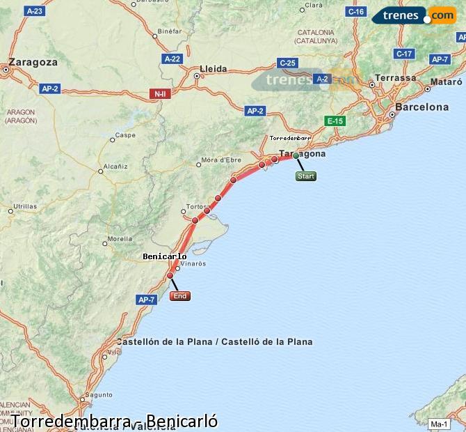 Ingrandisci la mappa Treni Torredembarra Benicarló
