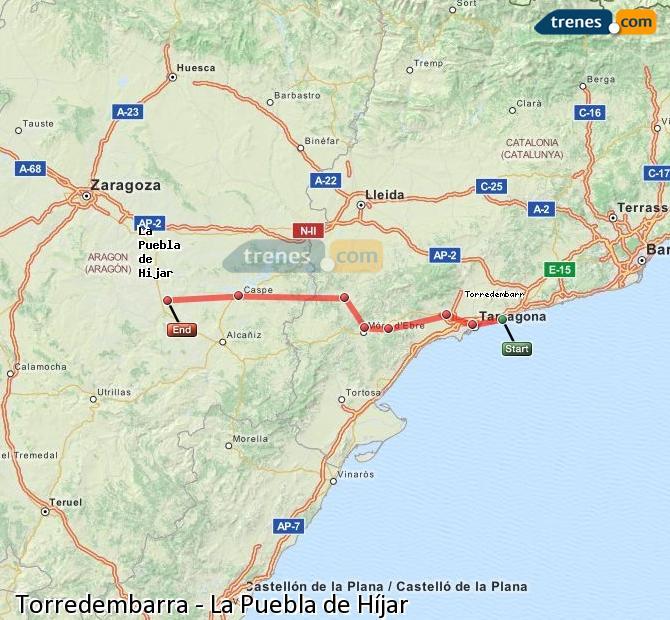 Ampliar mapa Trenes Torredembarra La Puebla de Híjar
