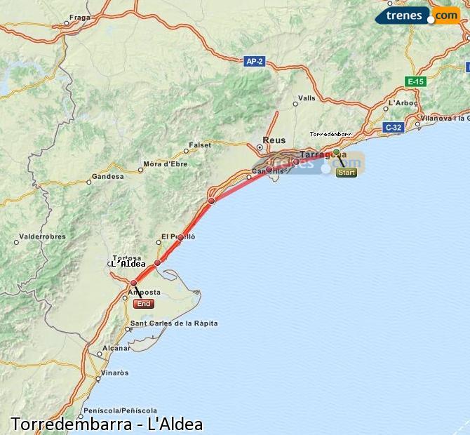 Ampliar mapa Comboios Torredembarra L'Aldea