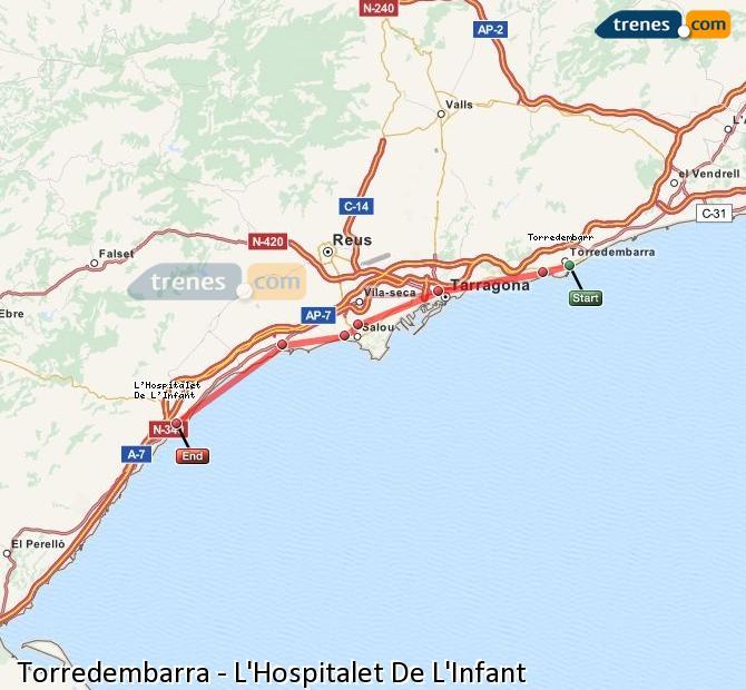 Karte vergrößern Züge Torredembarra L'Hospitalet De L'Infant