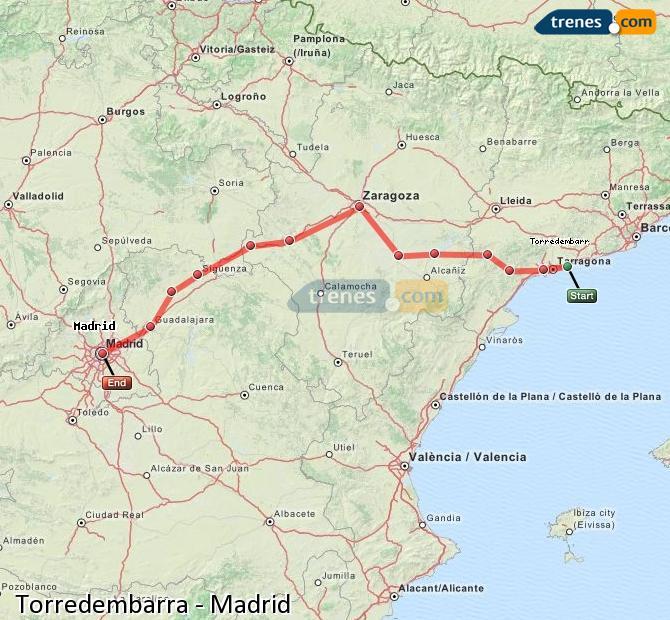 Ingrandisci la mappa Treni Torredembarra Madrid