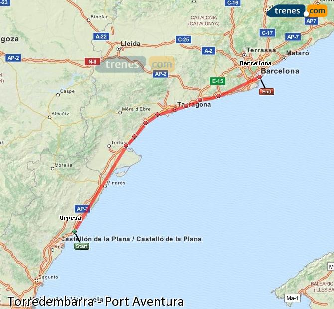 Ingrandisci la mappa Treni Torredembarra Port Aventura