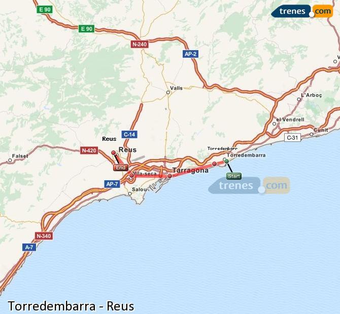 Ampliar mapa Comboios Torredembarra Reus
