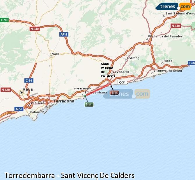 Agrandir la carte Trains Torredembarra Sant Vicenç De Calders