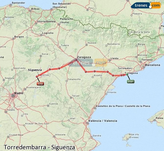 Karte vergrößern Züge Torredembarra Siguenza