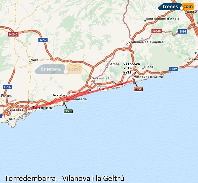 Agrandir la carte Trains Torredembarra Vilanova i la Geltrú