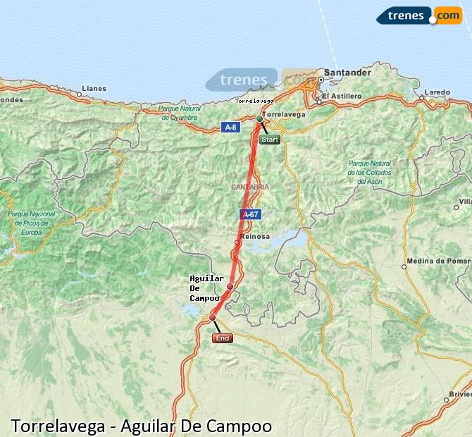 Ingrandisci la mappa Treni Torrelavega Aguilar De Campoo