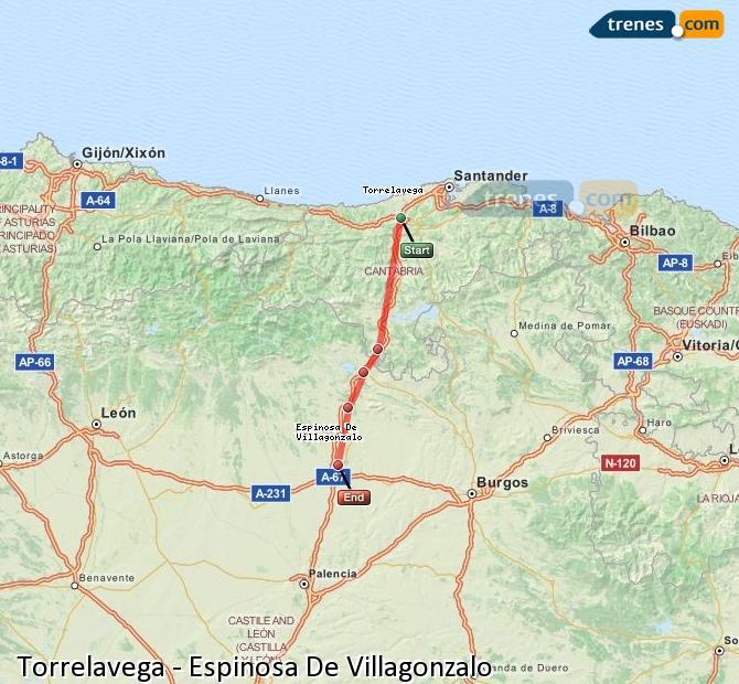 Karte vergrößern Züge Torrelavega Espinosa De Villagonzalo