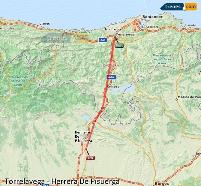 Enlarge map Trains Torrelavega to Herrera De Pisuerga