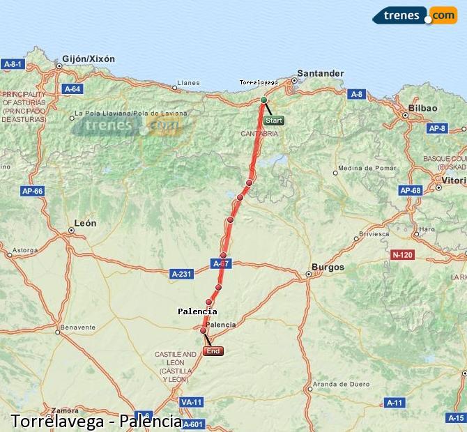 Karte vergrößern Züge Torrelavega Palencia